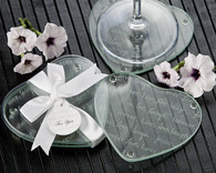 Wedding Favours - Artisano Designs Live Love Laugh??orever Heart Glass Coasters (Set of 2). Coaster Favors to make your day special.