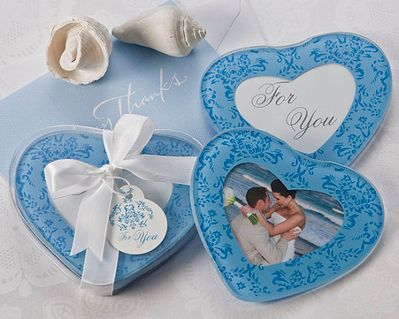 Wedding Favours - Artisano Designs True in Blue Heart Glass Photo Coasters (Set of 2). Coaster Favors to make your day special.
