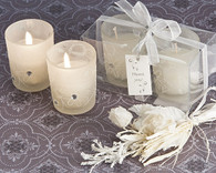 Wedding Favors - Artisano Designs Sparkling Floral Votive Candle Set in Display Box. Candle Wedding Favors to make your day special.