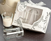 Wedding Favors - Artisano Designs Love Birds Shot Glass Favor Set in Designer Gift Box. Glasses to make your day special.