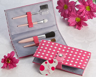 Bridal Shower Gifts - Artisano Designs Pretty in Pink Polka Dot Makeup Brush Kit. Manicure/ Pedicure Set to make your day special.