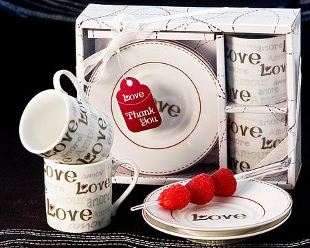 Unique Wedding Favors - Artisano Designs Language of Love Espresso Cup Favor Set. Expresso Set to make your day special.