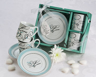 Unique Wedding Favors - Artisano Designs Expressions of Love Espresso Cup Favor Set (In White). Expresso Set to make your day special.