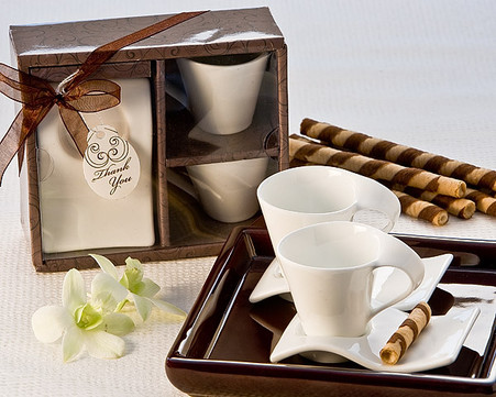 Unique Wedding Favors - Artisano Designs Swish Cup and Biscotti Plate Favor (Set of 2). Expresso Set to make your day special.