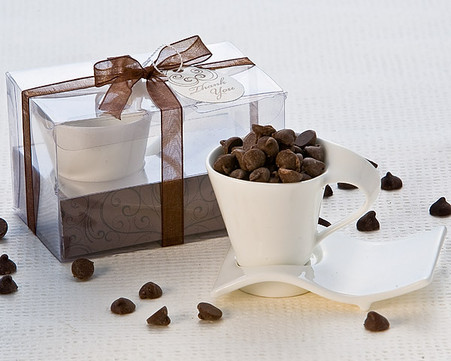 Unique Wedding Favors - Artisano Designs Swish Cup and Biscotti Plate Favor (Uno). Expresso Set to make your day special.