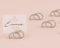 Wedding Favours - Weddingstar Double Rings with Crystal Place Card Holder. Place Card Holders to make your day special.