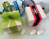 Wedding Favor Boxes - 2 Piece Square Favor Boxes (White)
