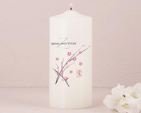 Wedding Decorations - Weddingstar Cherry Blossom Personalized Pillar Candles