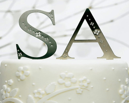 Wedding Cake Toppers - Weddingstar Brushed Silver Monograms with Crystals