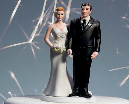 "Wedding Cake Toppers - Weddingstar ""The Love Pinch"" Bridal Couple Figurine Caucasian Couple"