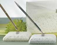 Wedding Table Decorations - Weddingstar Bridal Tapestry Satin Wrapped Pen Set