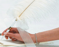 Wedding Table Decorations - Weddingstar Plume Pens Elegant Round Base With White Pen