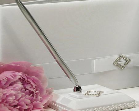 Wedding Table Decorations - Weddingstar Pure Elegance in Wedding White Satin Wrapped Pen Set