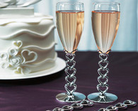 Wedding Ideas - Weddingstar Silver Plated Stacked Hearts Wedding Champagne Flutes
