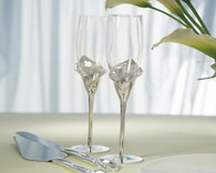 Wedding Reception - Weddingstar Silver Calla Lily Stem With Glass Wedding Champagne Flutes