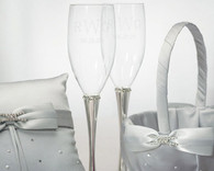Wedding Reception - Weddingstar Crystal Ring Wedding Champagne Flutes
