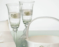 Wedding Reception - Weddingstar Classic Double Heart Wedding Champagne Flutes