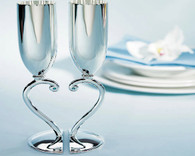 Wedding Accessories - Weddingstar Interlocking Heart Stem Wedding Champagne Flutes