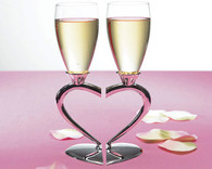 Wedding Table Decorations - Weddingstar Silver Plated Interlocking Heart Stems Wedding Champagne Glasses