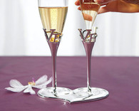 Wedding Table Decorations - Weddingstar Silver Love Stem Holder And Glass Wedding Champagne Flutes