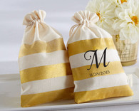 Bridal Shower Favors - Gold Stripe Muslin Favor Bag (Set of 12)