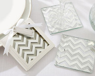 Wedding Favors - Shimmer and Shine Silver Chevron Coasters