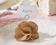Wedding Favors - Burlap Rose Place Card Holder (Set of 6)