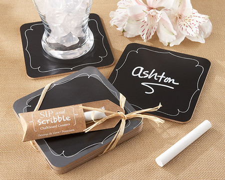 "Wedding Favors - ""Sip and Scribble"" Chalkboard Coasters"
