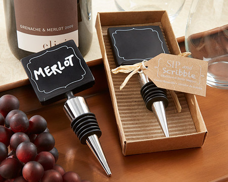 "Wedding Favors - ""Sip & Scribble"" Chalkboard Bottle Stopper"