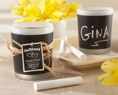 "Wedding Favors - ""Chalkboard"" Frosted-Glass Tealight Holder (Set of 4)"