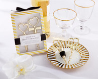 Wedding Favors - Cheers to a Great Combination Gold Wine Set