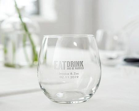 Wedding Favors – Weddingstar Small Personalized Stemless Wine Glass