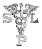 Speech Language Pathologist SLP graduation pins pinning ceremony gifts and awards. SLP pins are 14K gold or silver and are perfect for graduating.