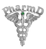 Doctor of Pharmacy PharmD pins graduation pinning ceremony awards and recognition gifts.  Available in silver or 14K PharmD graduation pins.