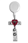Retractable name badge holder for RN registered nurses