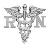 Nursing pin RN graduation pinning ceremony manufactured in sterling silver.  These nursing pins are gift boxed, shipped fast and available for class discounts.
