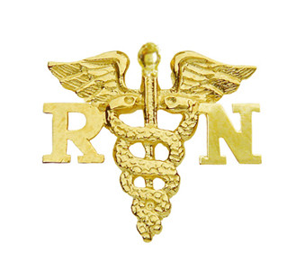 Nursing pin  RN registered nurses graduation in 14K gold.  This nursing pin is the perfect gift to be awarded at nursing school graduation pinning ceremonies.