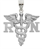 Register nurse RN charm for nursing school graduation gifts.  Manufactured in sterling silver these RN pendants are high quality jewelry for pinning.