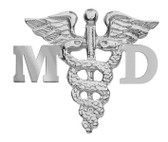 Medical doctor MD pins for graduation pinning ceremony gifts and award recognition.  Our MD graduation pins are made in sterling silver or 14K gold.