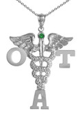 A charm occupational therapist assistant pinning graduation jewelry and gifts.  OTA silver or 14K pendant for class discounts and fast ship