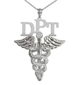 DPT necklace doctor of physical therapy pinning ceremony graduation gifts and jewelry.  DPT necklace made in silver or 14K and shipped fast.