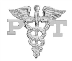 Physical Therapist Assistant PTA Lapel Pin with Pink Sapphire in Silver