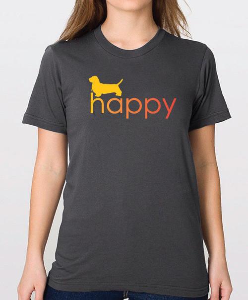 Righteous Hound - Unisex Happy Basset Hound T-Shirt
