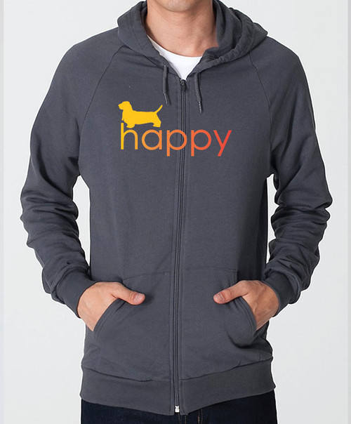 Righteous Hound - Unisex Happy Basset Hound Zip Front Hoodie