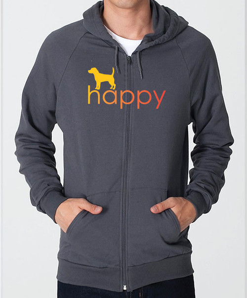 Righteous Hound - Unisex Happy Beagle Zip Front Hoodie