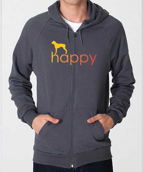Righteous Hound - Unisex Happy Boxer Zip Front Hoodie
