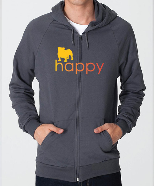 Righteous Hound - Unisex Happy Bulldog Zip Front Hoodie
