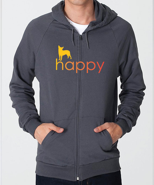 Righteous Hound - Unisex Happy Chihuahua Zip Front Hoodie