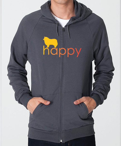 Righteous Hound - Unisex Happy Collie Zip Front Hoodie