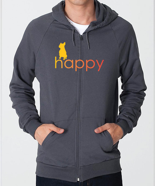 Righteous Hound - Unisex Happy French Bulldog Zip Front Hoodie